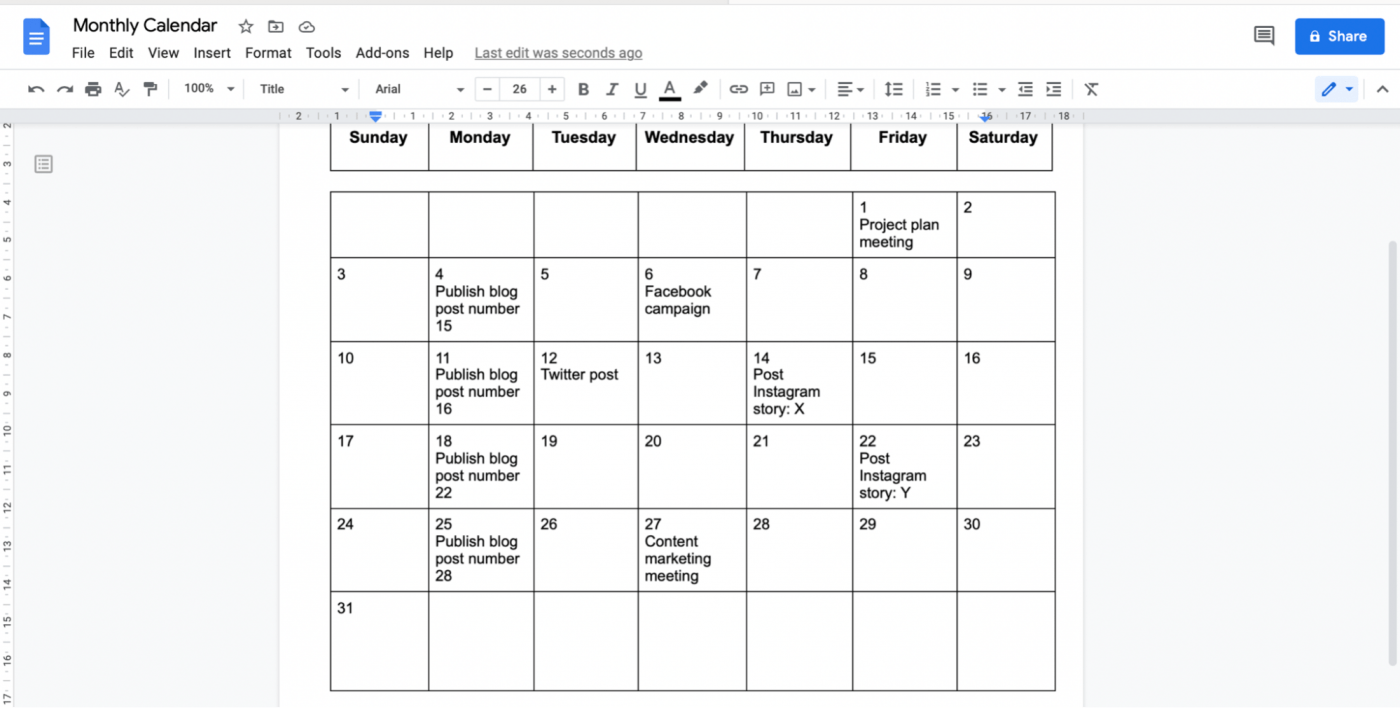 content calendar in Google Doc