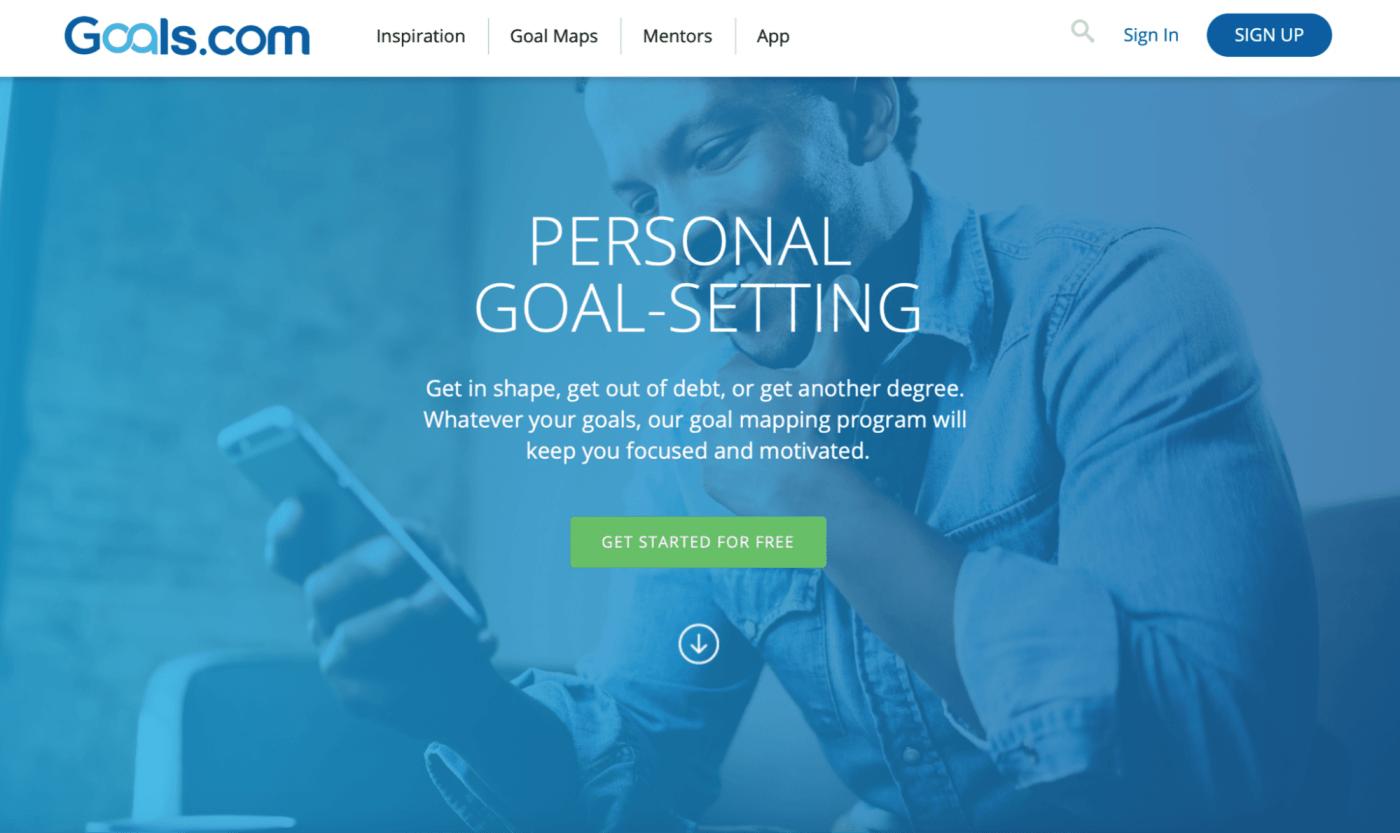 goals.com landing page