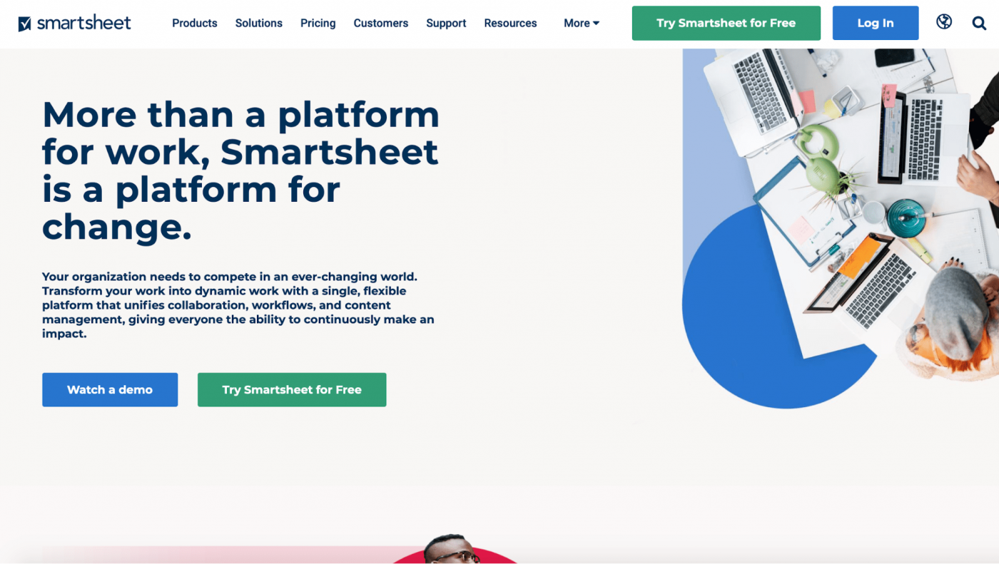 smartsheet landing page