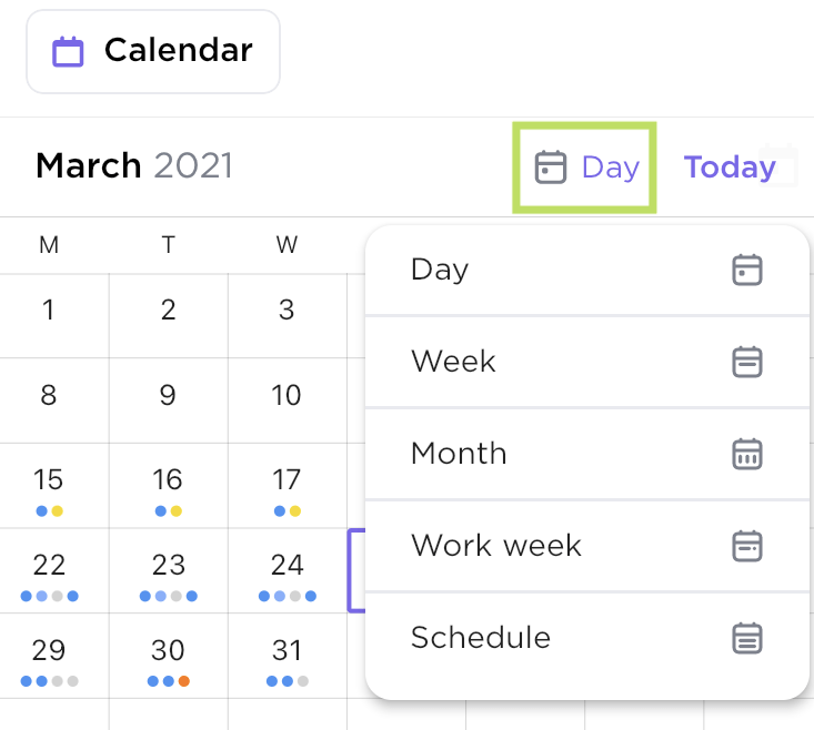 Calendar view options in ClickUp's mobile app