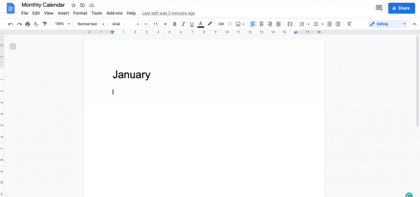 monthly calendar Google Doc