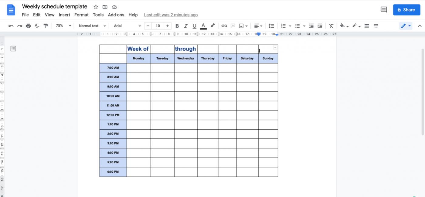 weekly schedule template in Google Doc