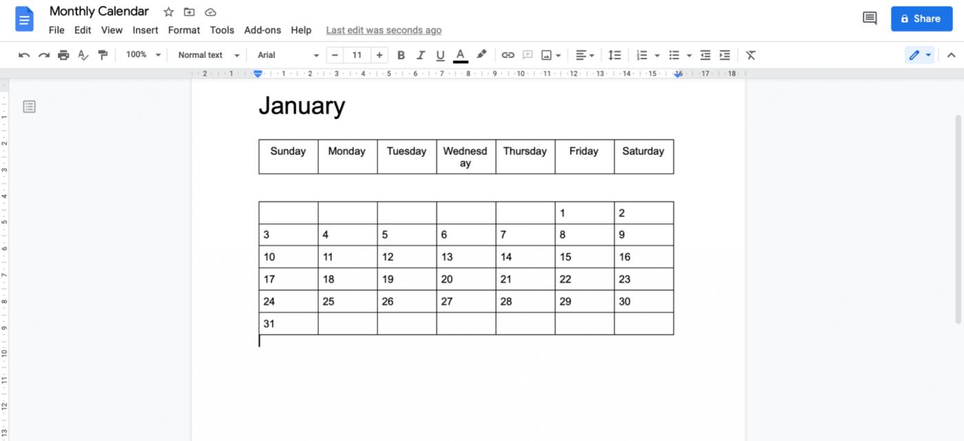 creating a calendar in Google Doc
