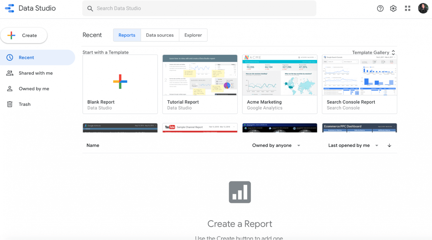 google data studio landing page