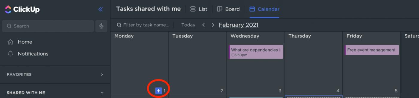 creating tasks in calendar view