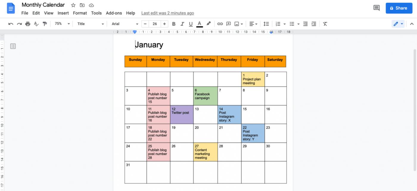 Calendar in Google Doc