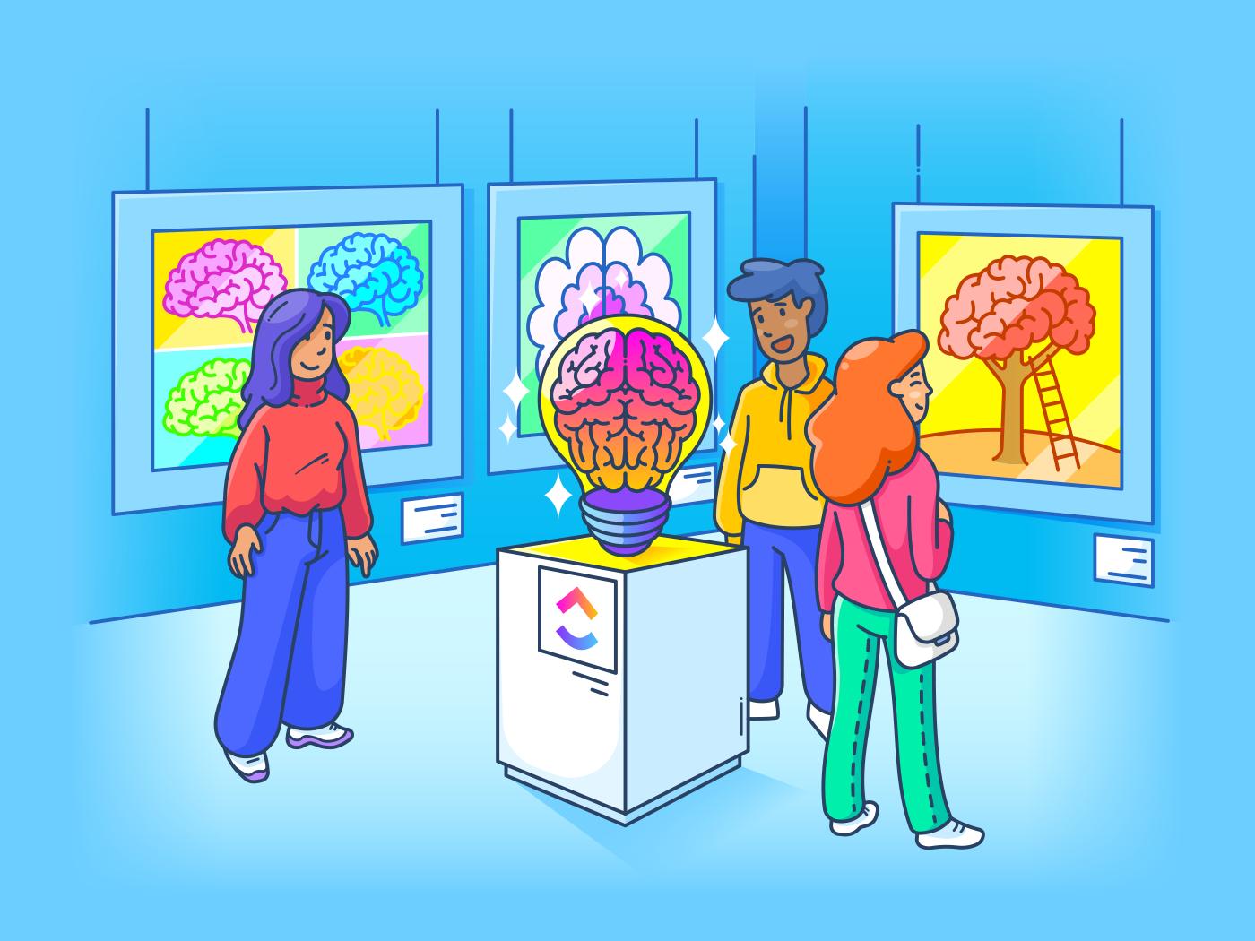 art gallery of diverse brains