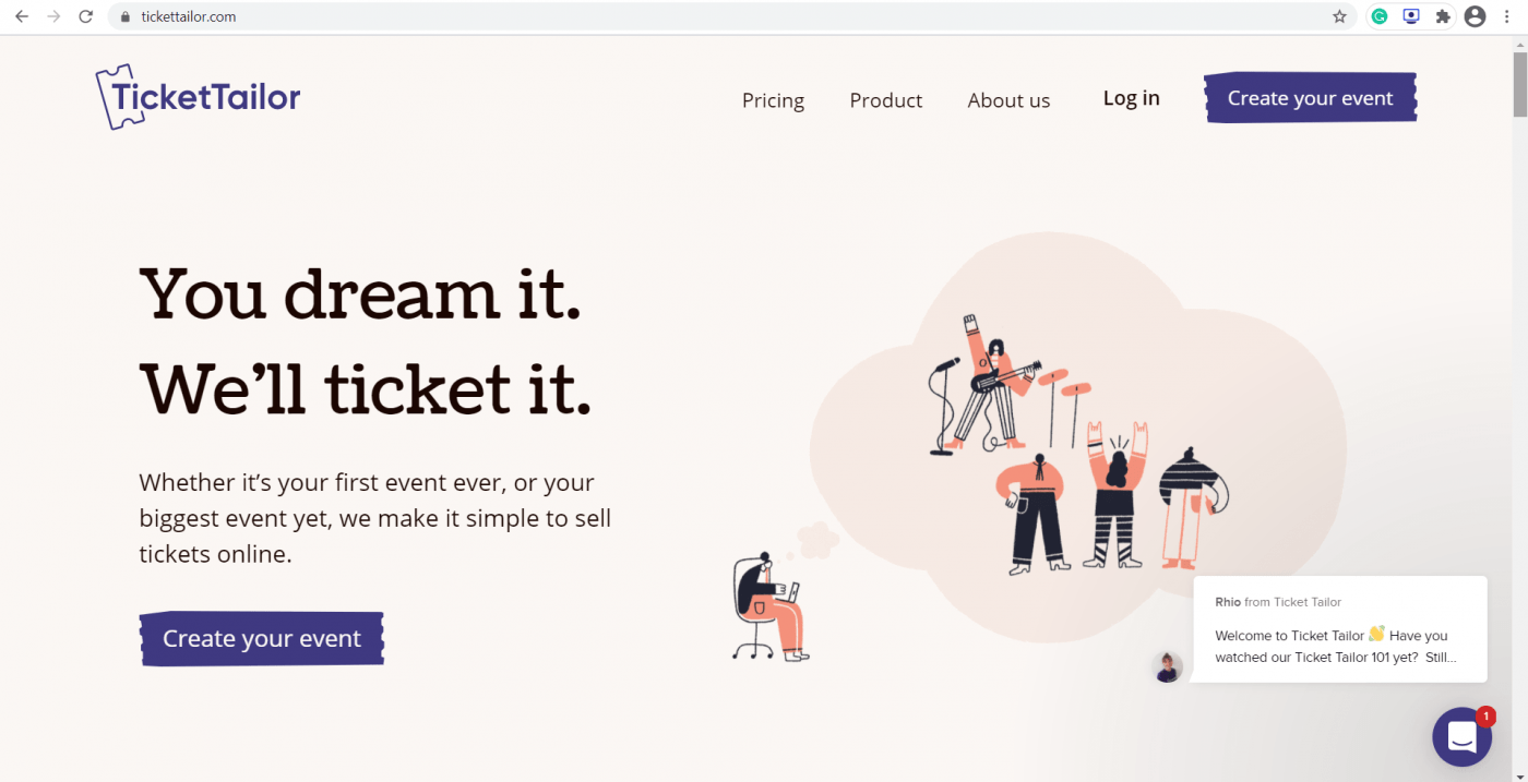 ticket tailor landing page