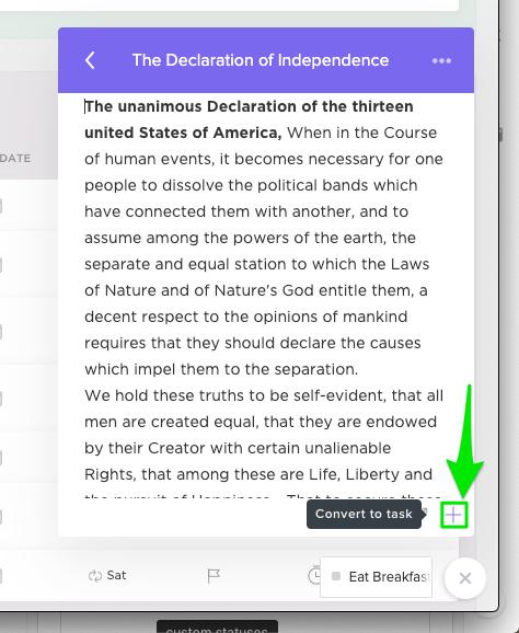 clickup entension notes