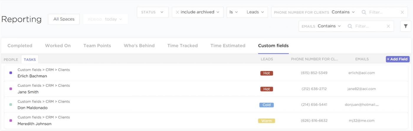 clickup custom fields reporting