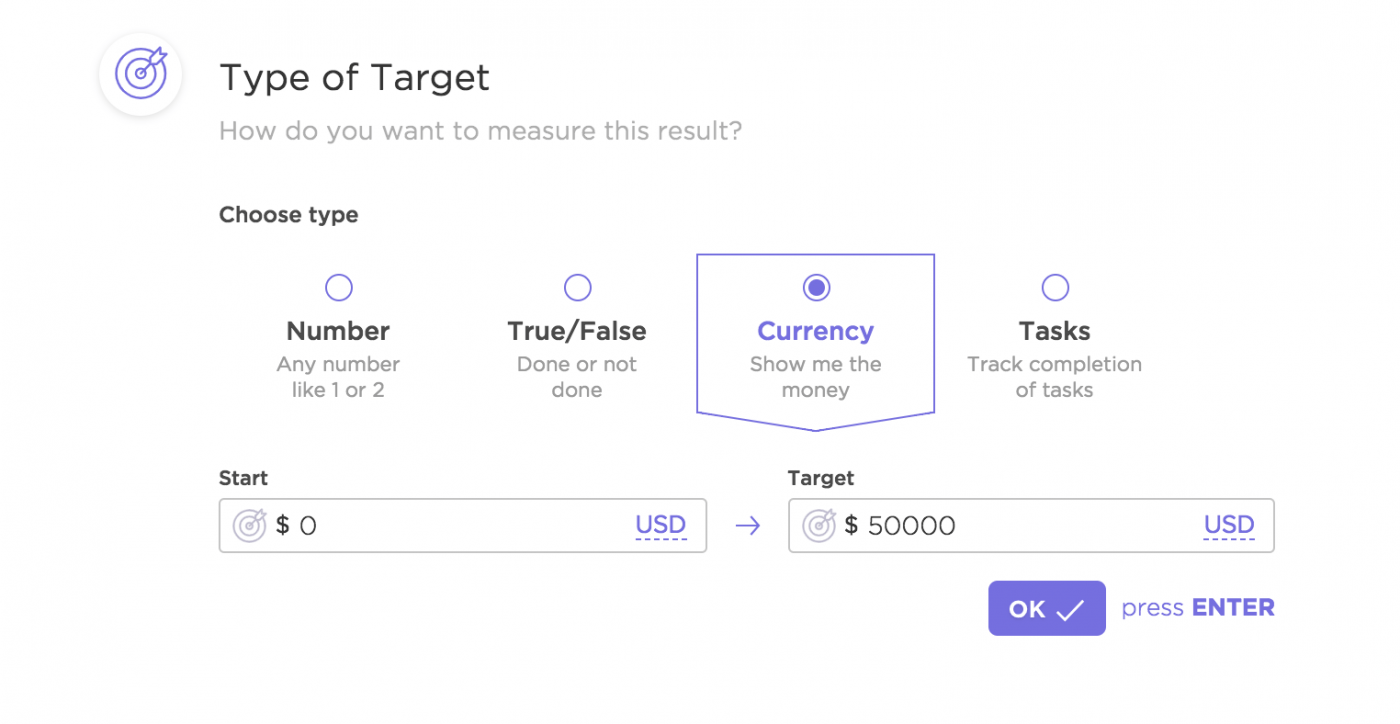 types of target in ClickUp