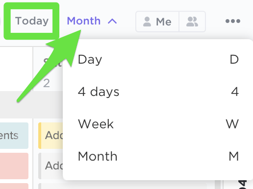 View options in ClickUp's Calendar View