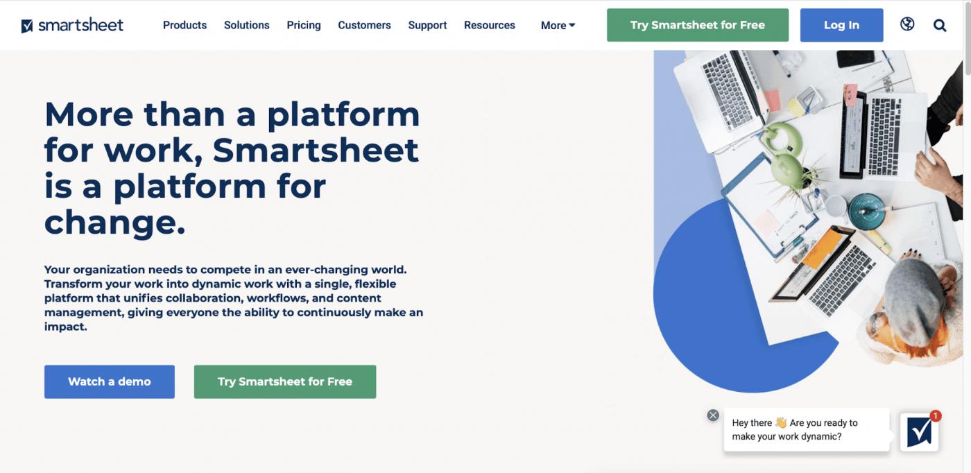 Smartsheet homepage