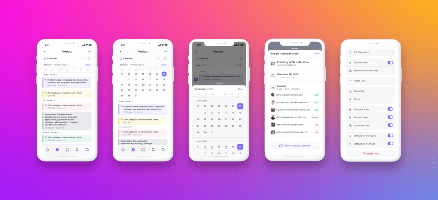 Calendar view in the ClickUp mobile app