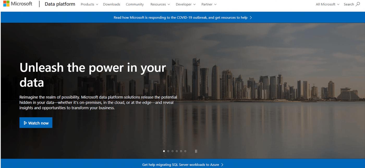 Microsoft SQL home page
