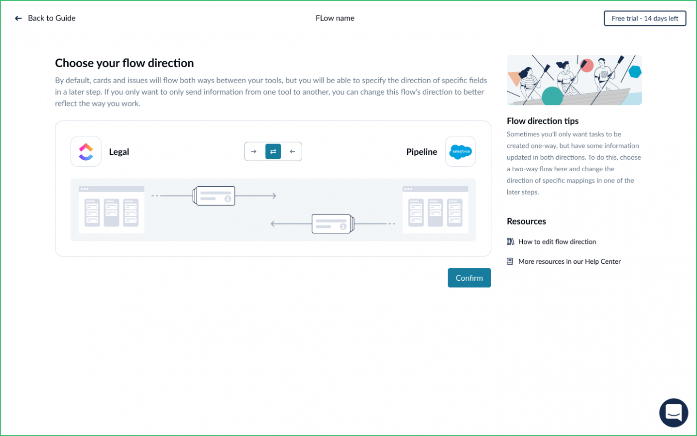 Choose flow of direction Unito ClickUp Salesforce