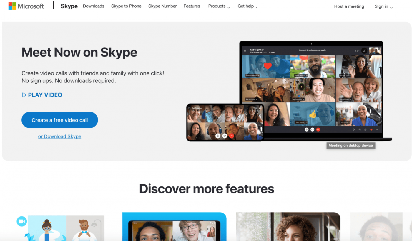 microsoft skype create a free video call homepage