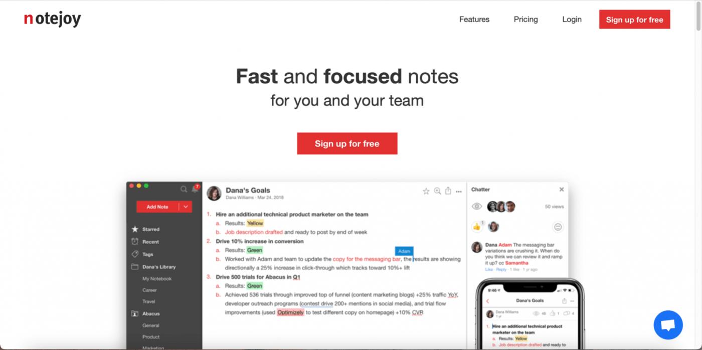 Notejoy homepage