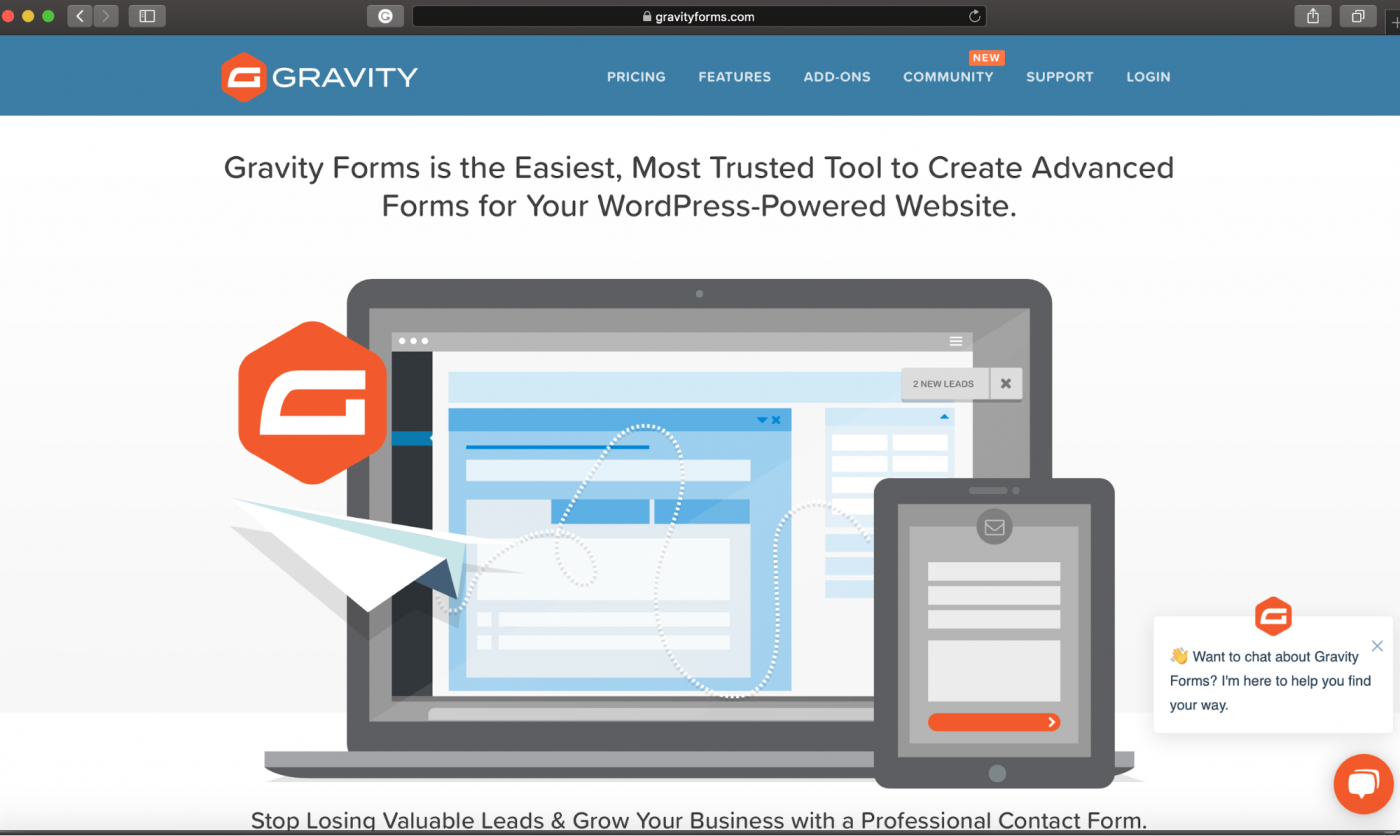 Gravity Forms home page