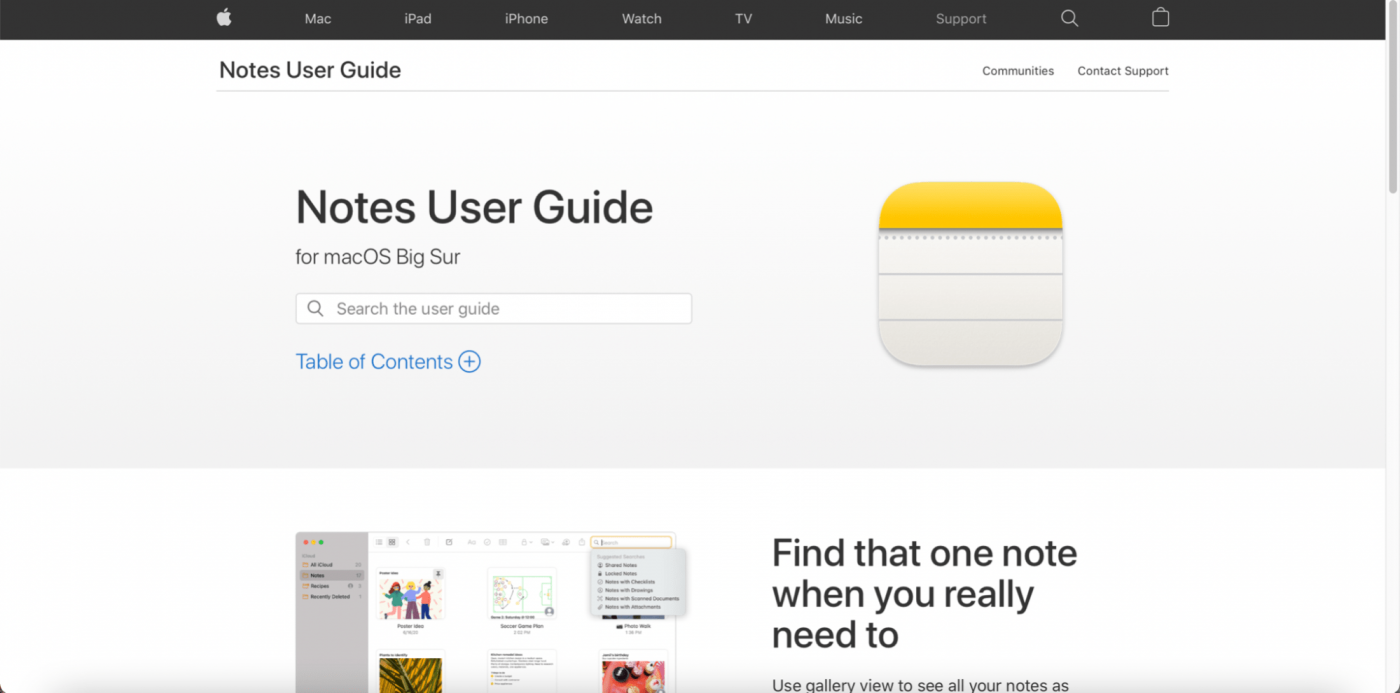 Apple Notes landing page