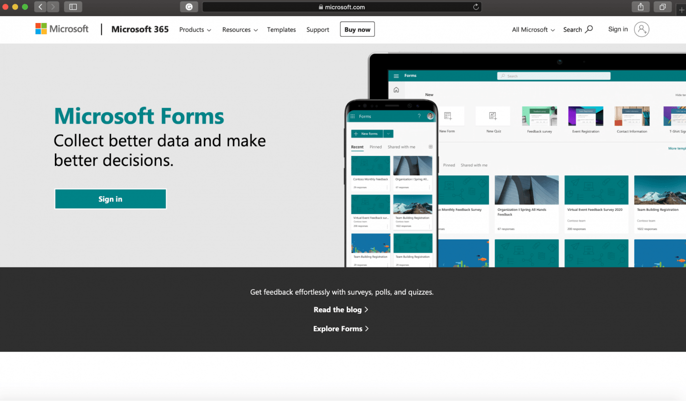 Microsoft Forms home page