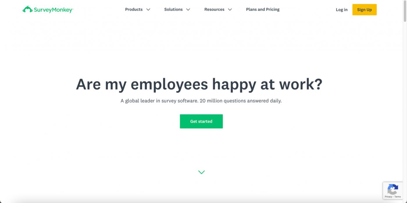 Survey Monkey homepage