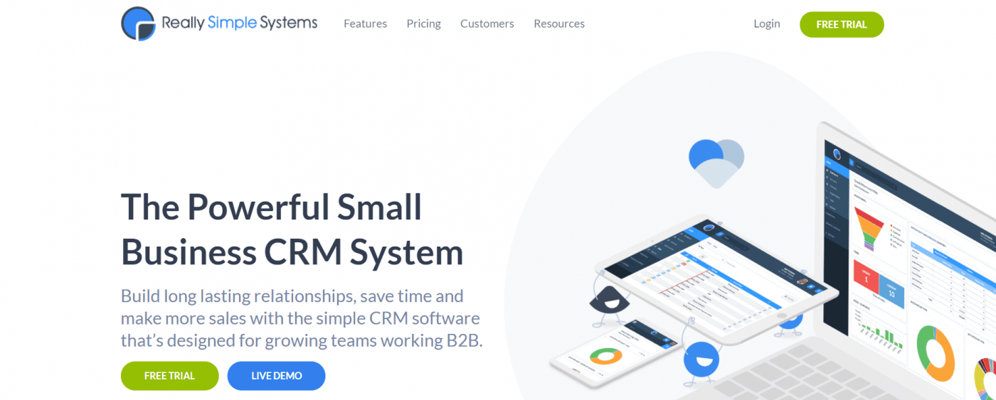 really simple systems crm landing page