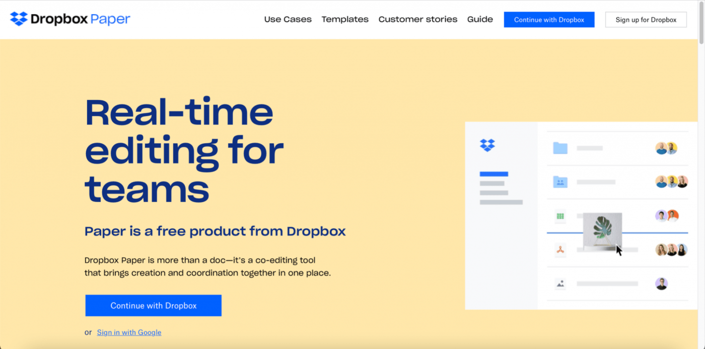 Dropbox Paper home page