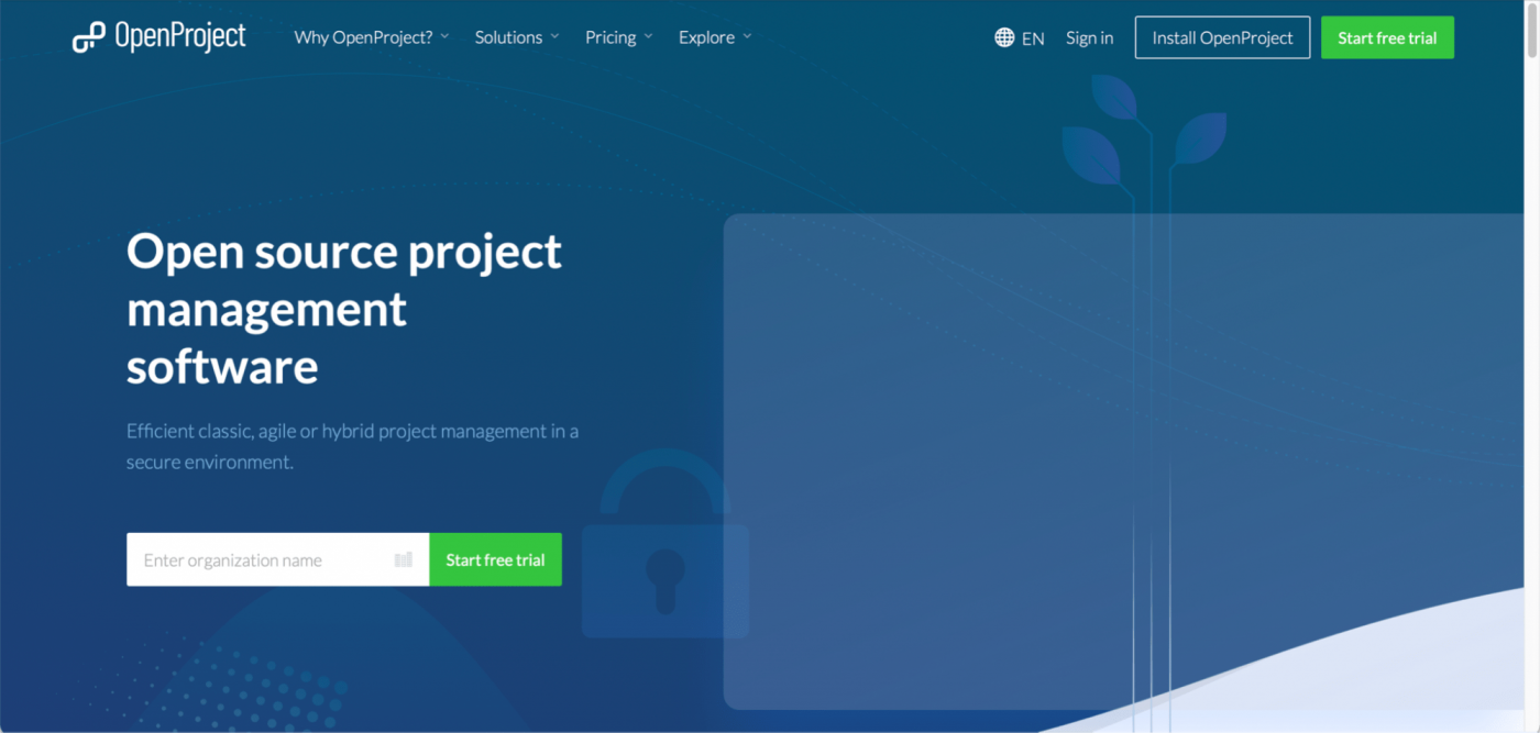open project home page