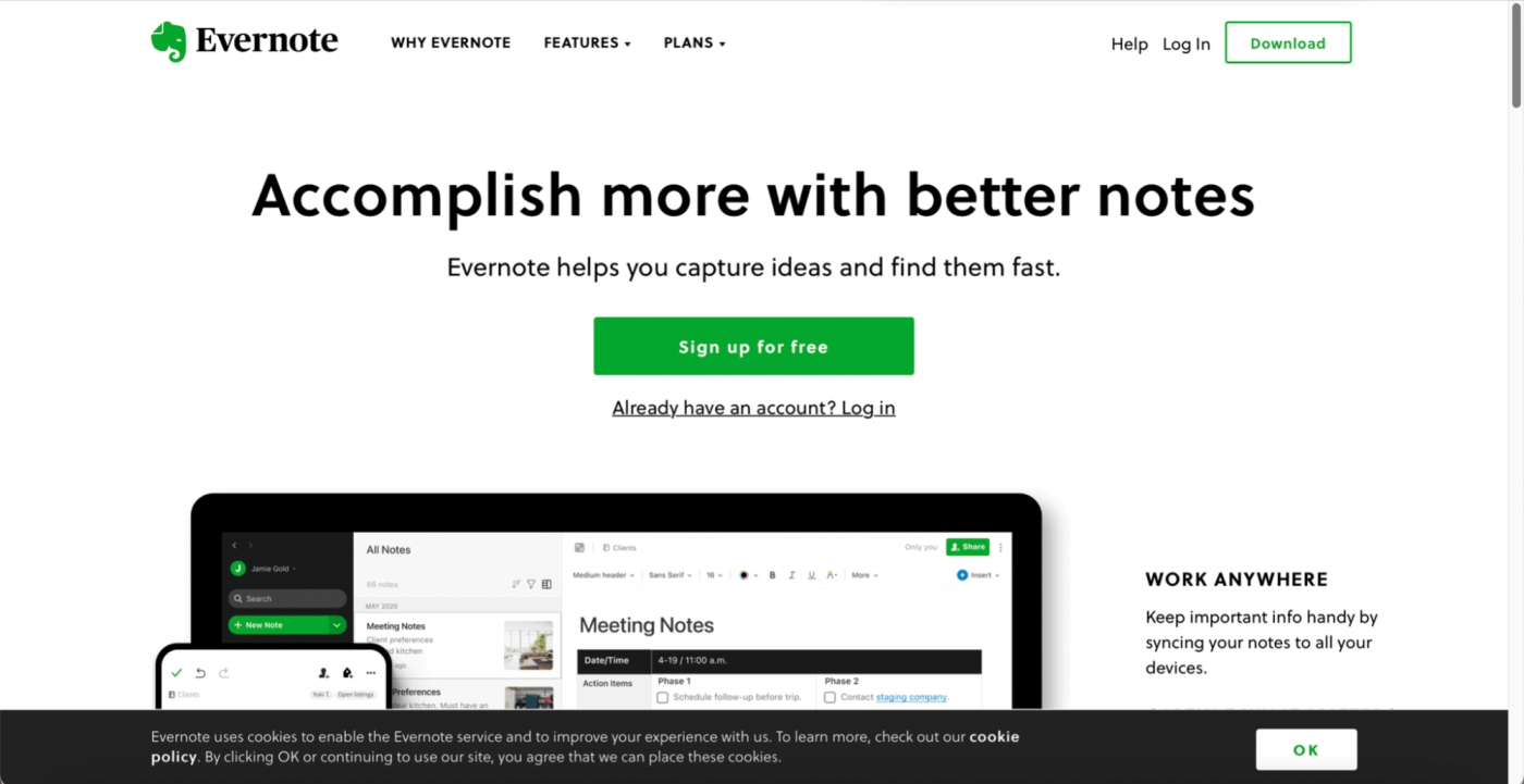 Evernote home page