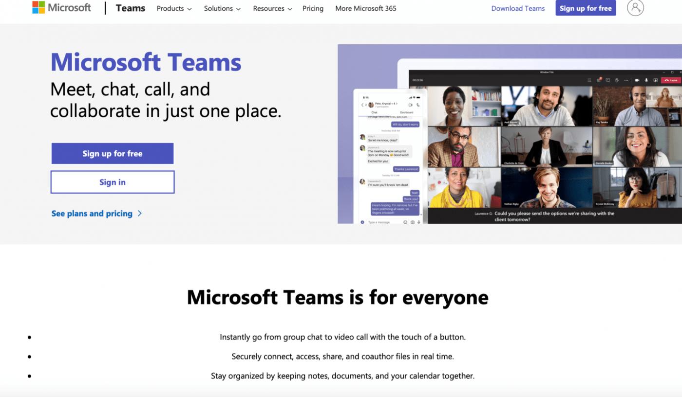 microsoft teams sign in homepage