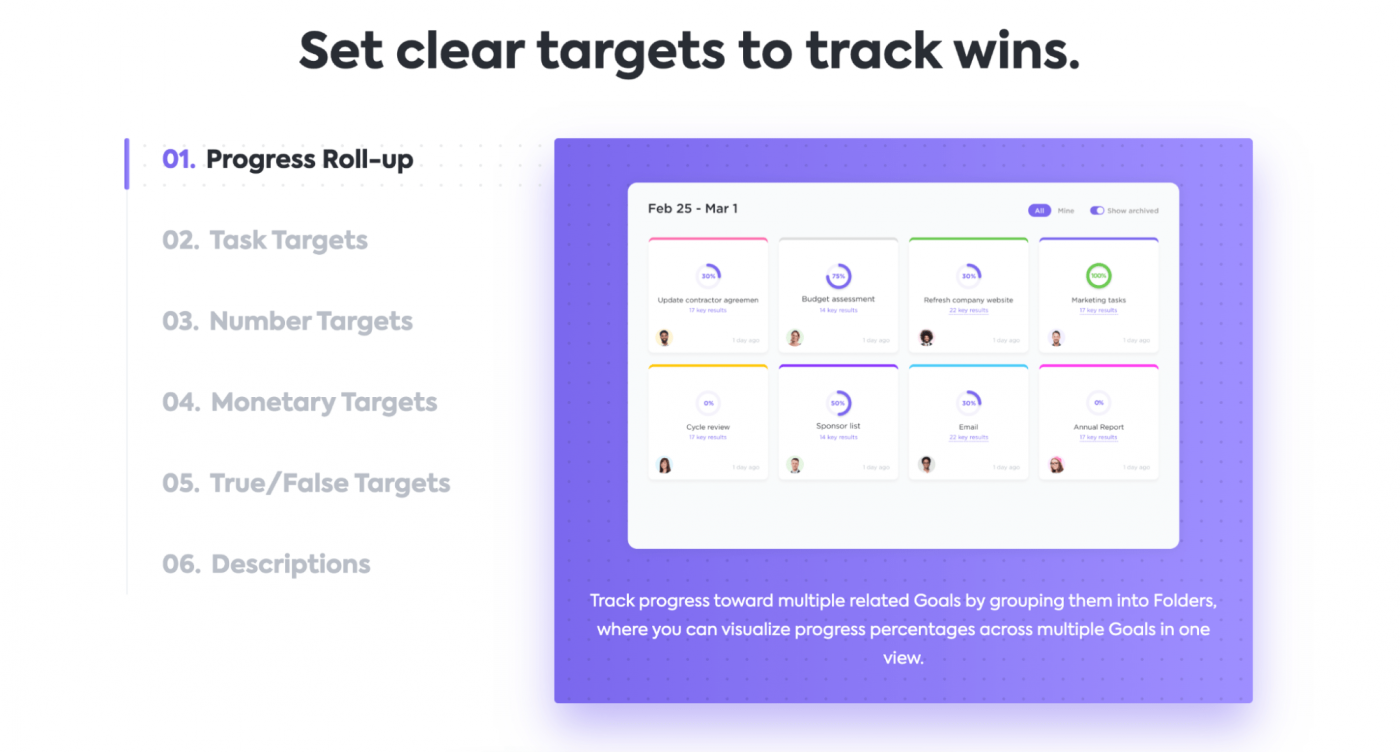 Targets in ClickUp