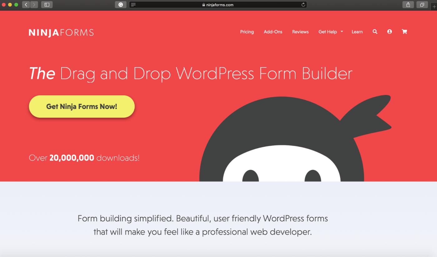 Ninja Forms home page