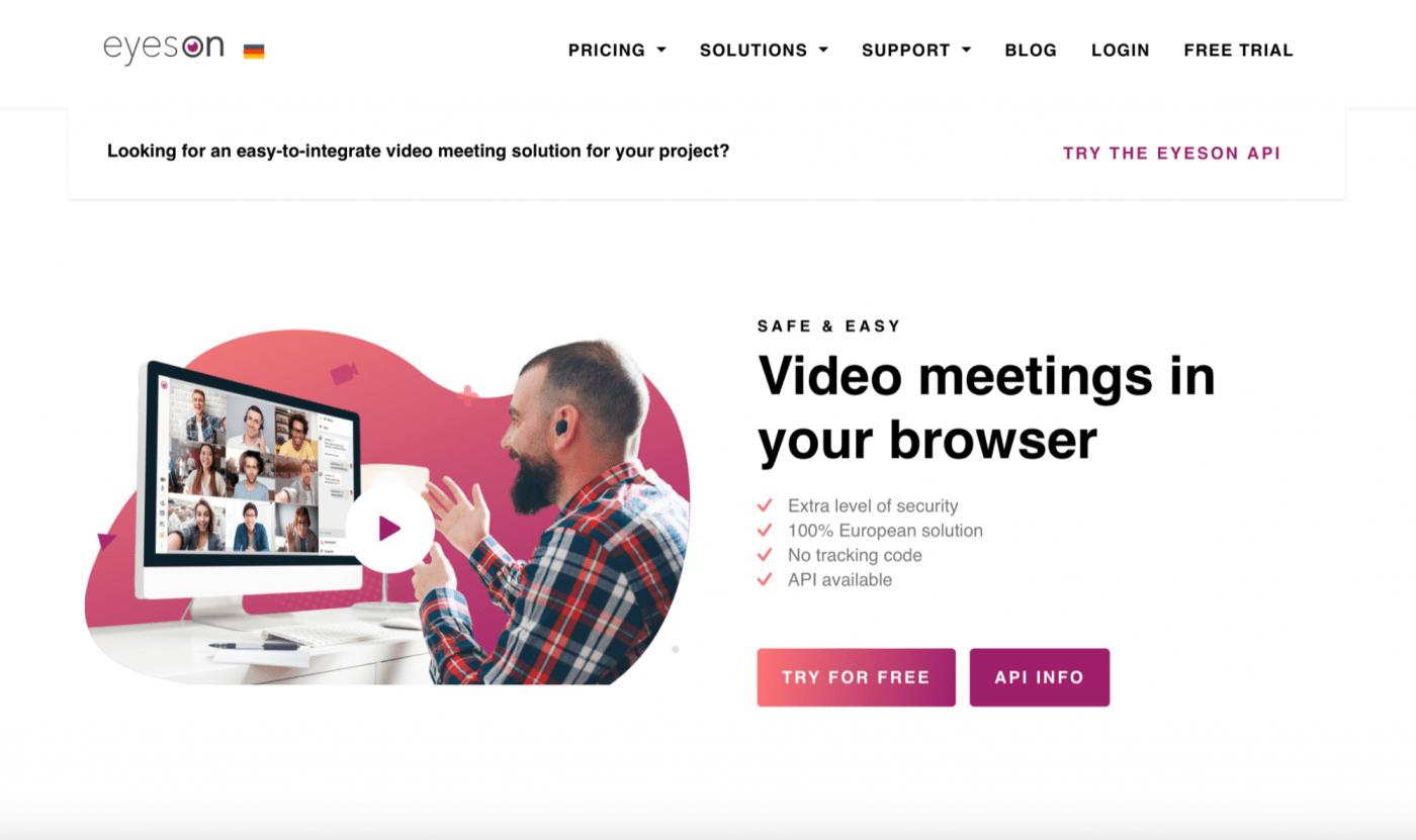 eyeson video meetings in your browser homepage