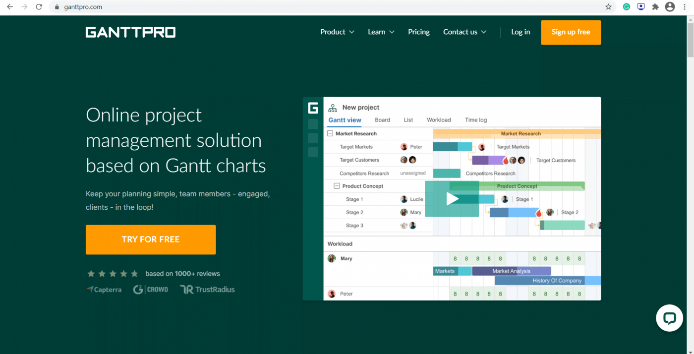 ganttpro home page