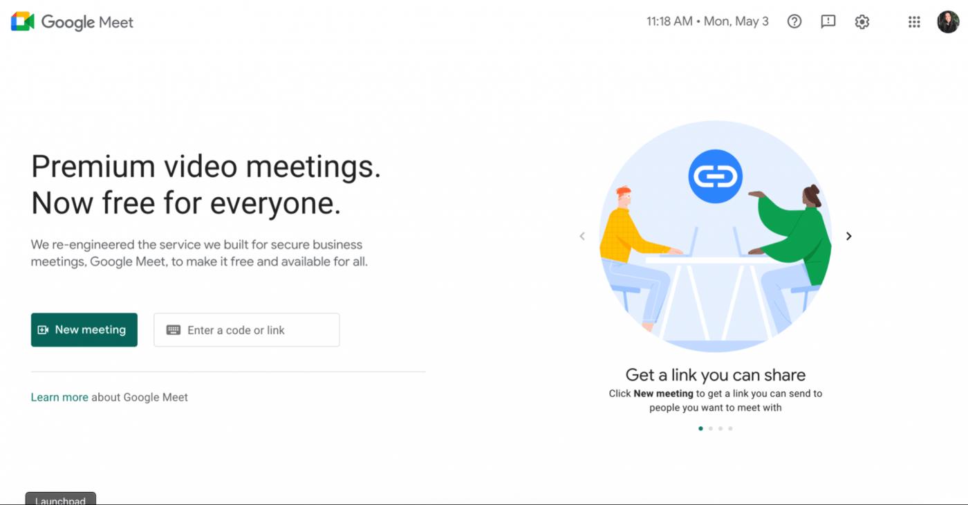 google meet new meeting homepage