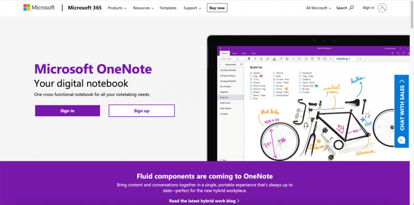 Microsoft OneNote home page