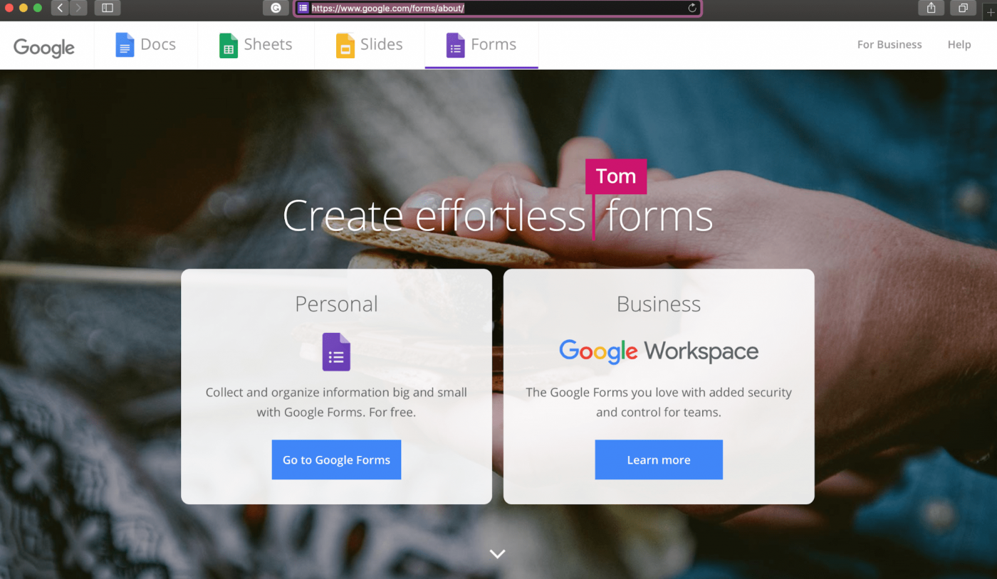Google Forms home page