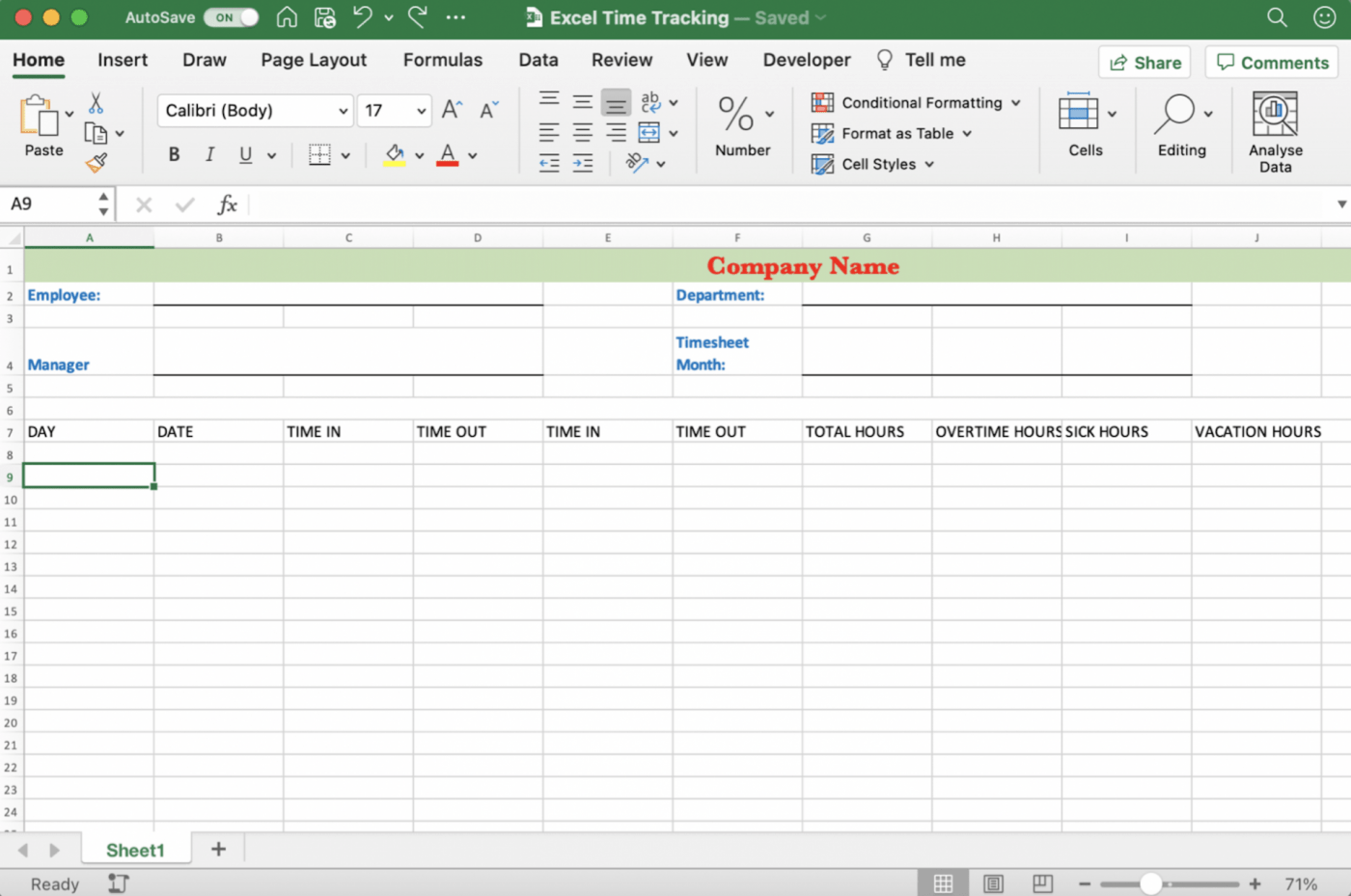 Excel time tracking spreadsheet