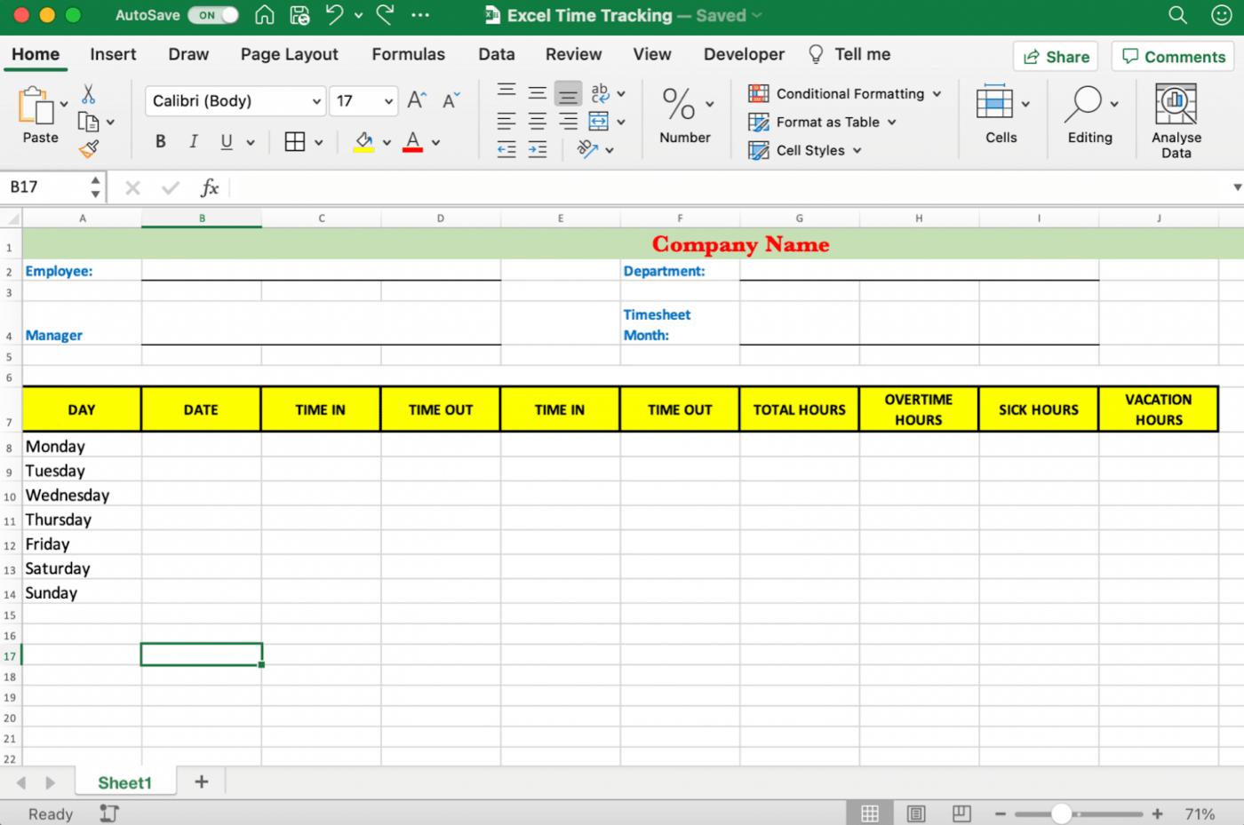 weekly timesheet in Excel
