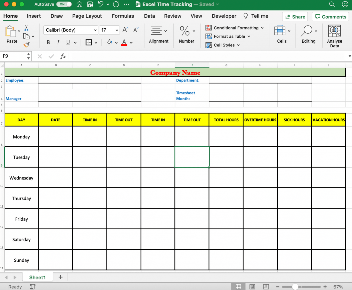 Time tracking spreadsheet in Excel