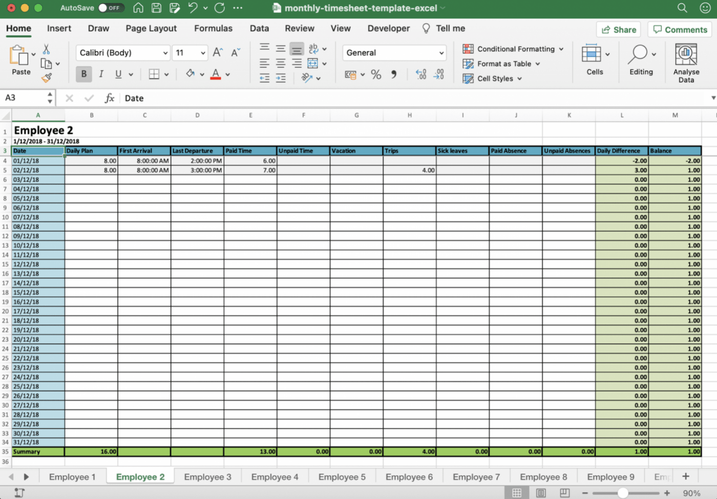 monthly timesheet template in Excel