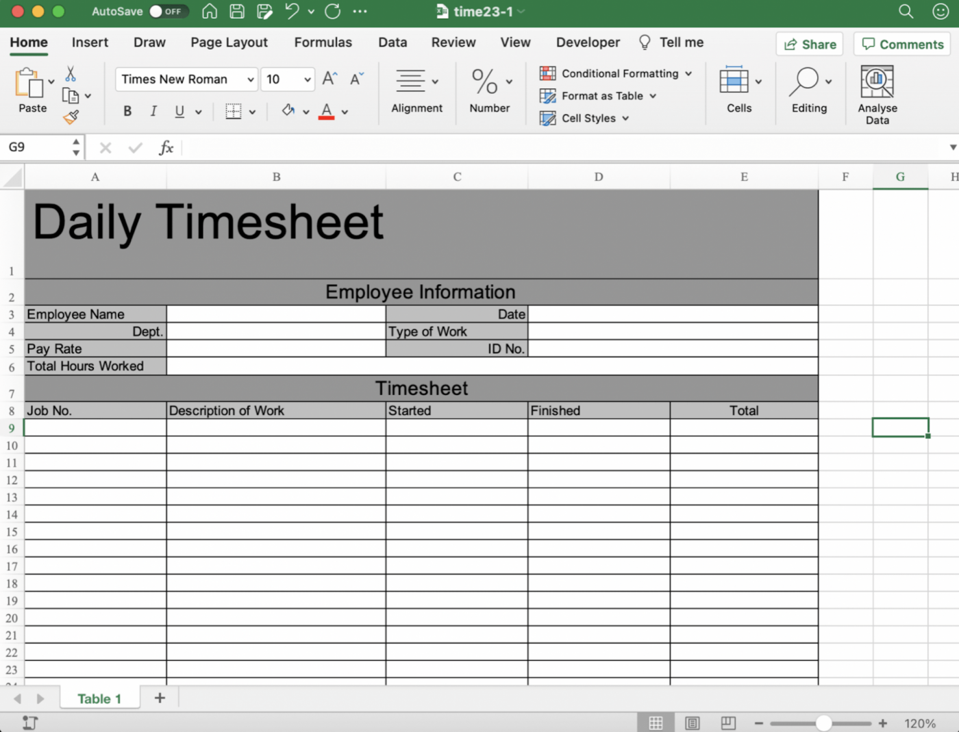 Daily timesheet template in Excel