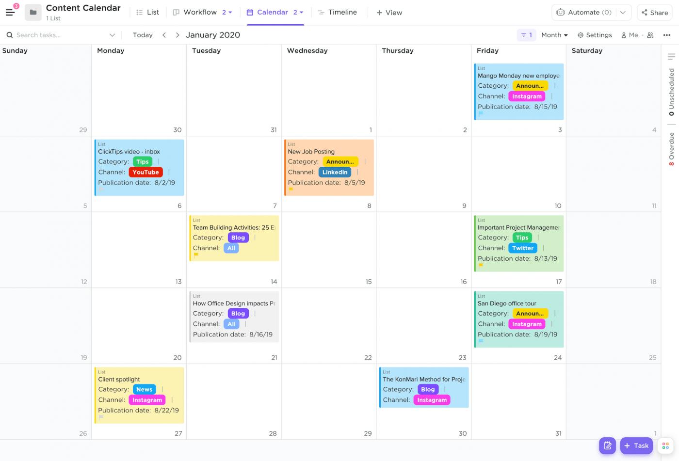 Content calendar in ClickUp Calendar view