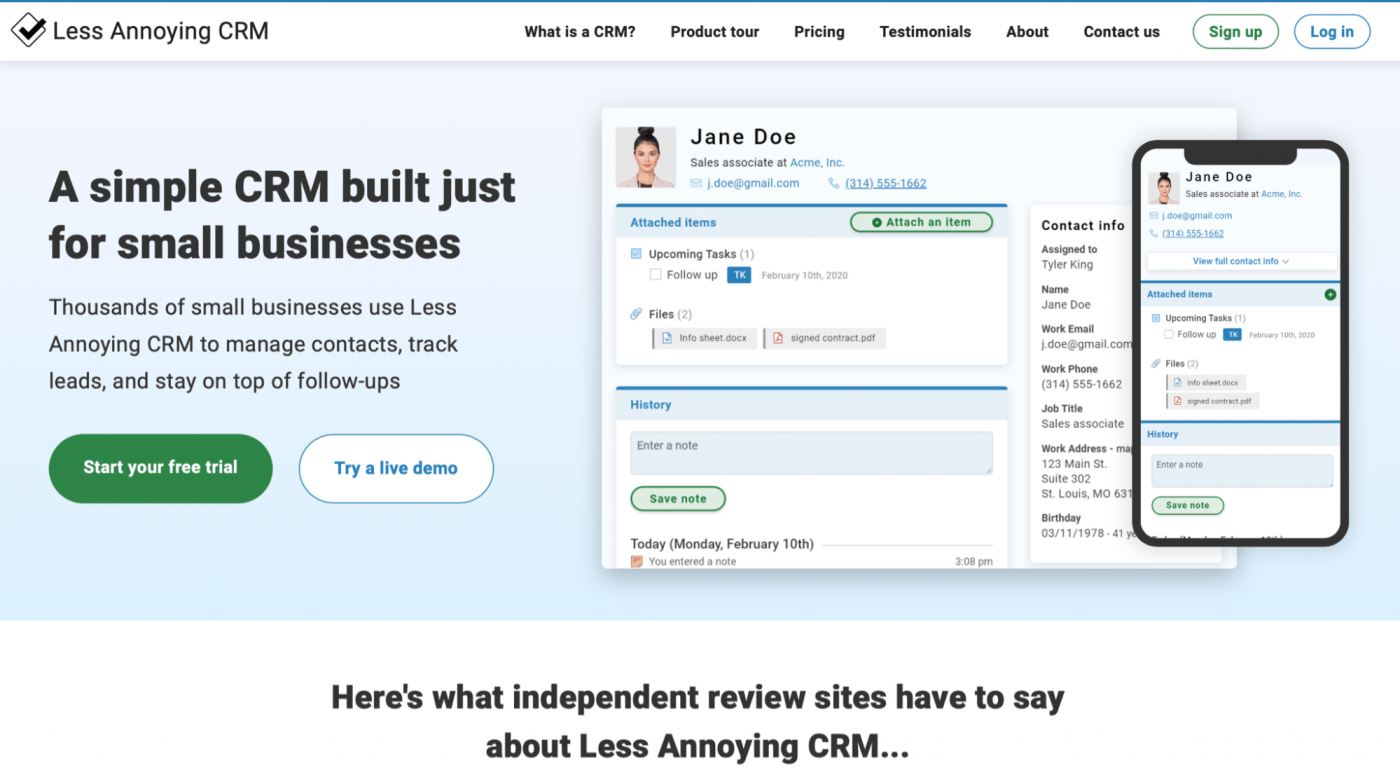 less annoying crm homepage