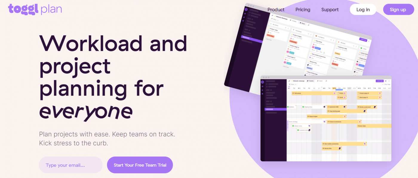 Toggl home page