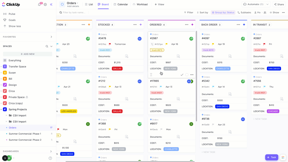 inventory management kanban board clickup