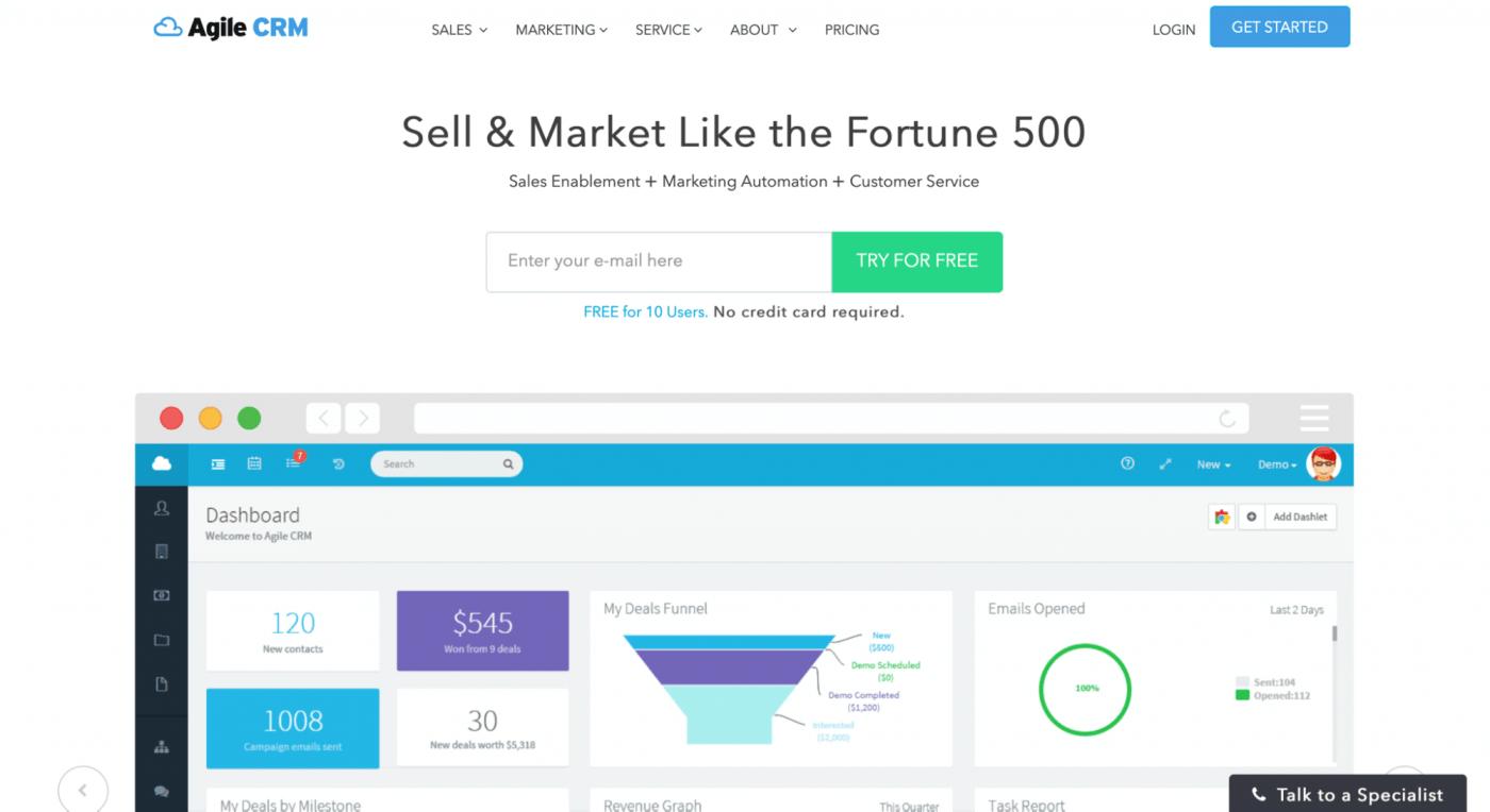 agile crm homepage