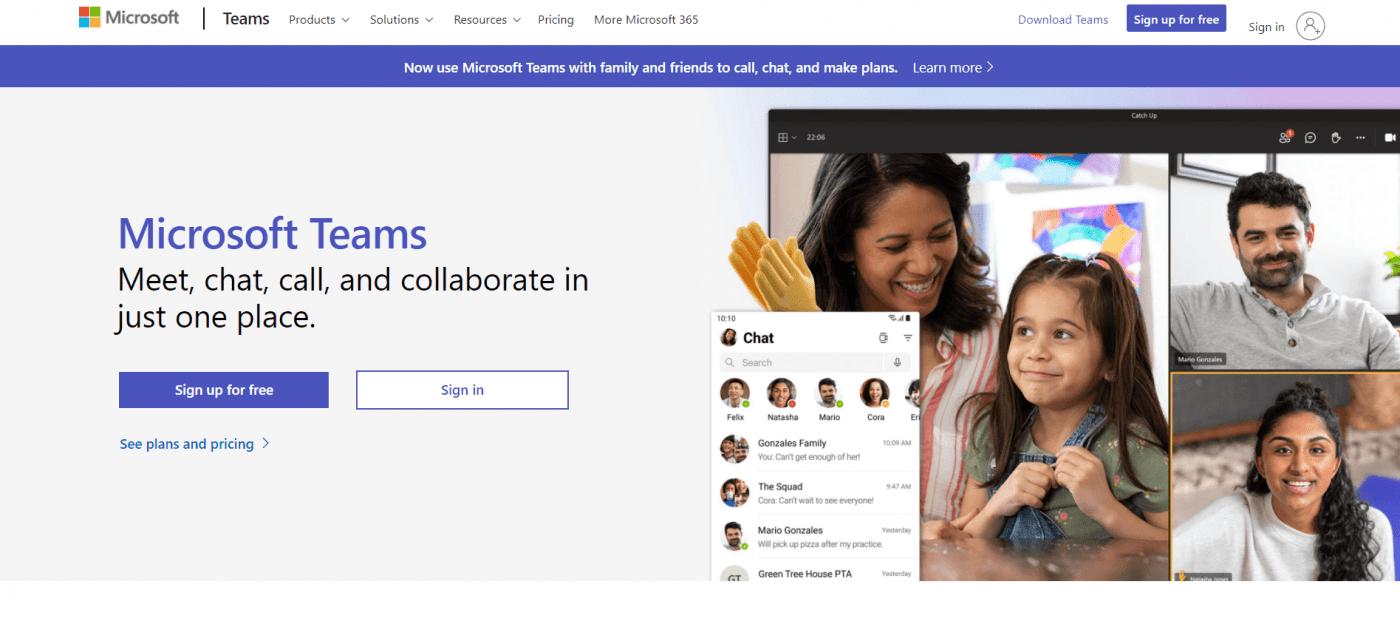 Microsoft Teams home page