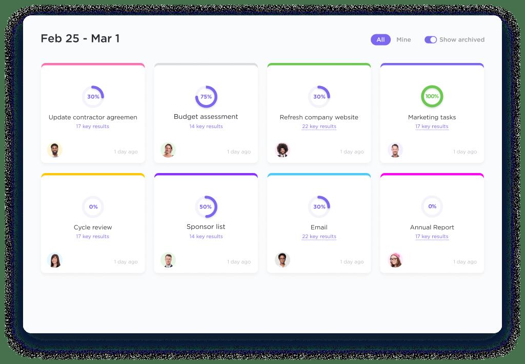 Goal folders in ClickUp